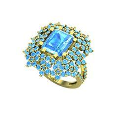 Prenses Kesim Çiçek Yüzük - Akuamarin 14 ayar altın yüzük #1ebv0kv