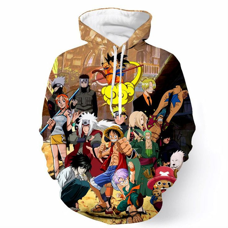 Plus Size 6XL Anime Paparazzi Hooded Sweatshirts Goku/Luffy/Naruto/Zoro/Kakashi 3D Printed Hoodies Men/women Hoody Pullovers - free shipping worldwide