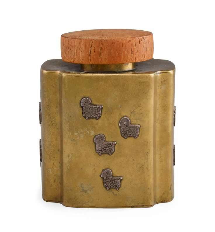 Bertel Gardberg; Brass, Silver and Teak Tea Caddy, 1951.
