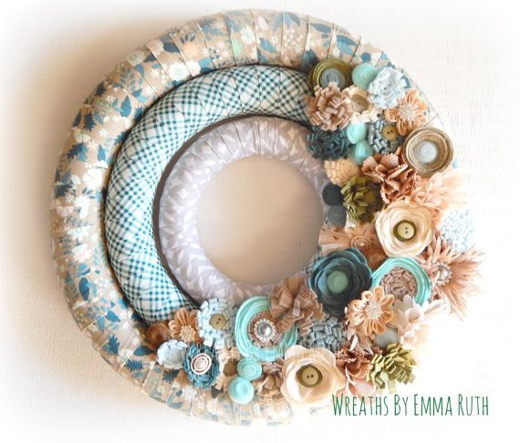 Wreath Triple Wrapped Cool Color Spring Fabric and felt Wreath in soft blue and green, tan and brown. Vintage Country Beach Wreath.