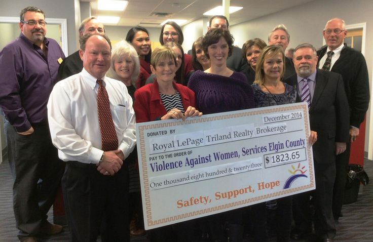 Royal LePage Triland Realty was pleased to present a cheque for $1823.65 to Violence Against Women Services Elgin County at our Grand Opening. (December 2014)