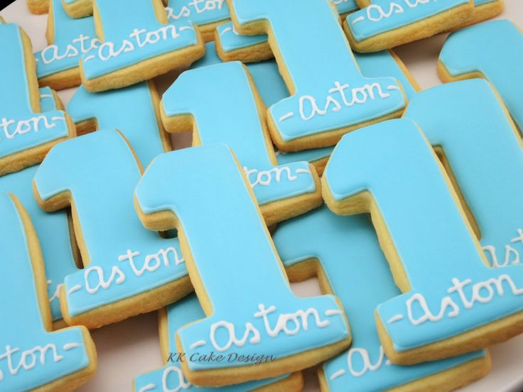 1st birthday cookies iced with royal icing