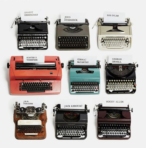 thepenguinpress:    Famous writers and their typewriters.