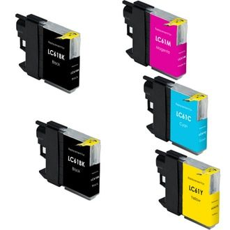 Brother LC61 compatible ink cartridges. Package includes 2 black, 1 cyan, 1 magenta and 1 yellow ink cartridge - 5-Pack