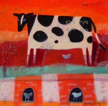 "♞ Artful Animals ♞ bird, dog, cat, fish, bunny and animal paintings - KAREN HOEPTIN ""Song Ninety-two"""