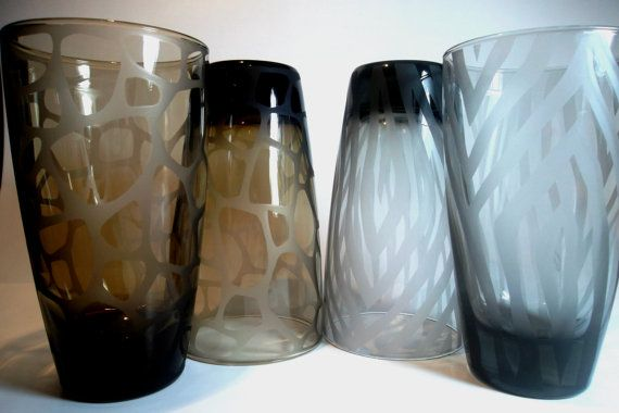 Etched glassware with giraffe and zebra print. Colored glass, animal print home decor. Set of 4 $65.95 + $21 shipping