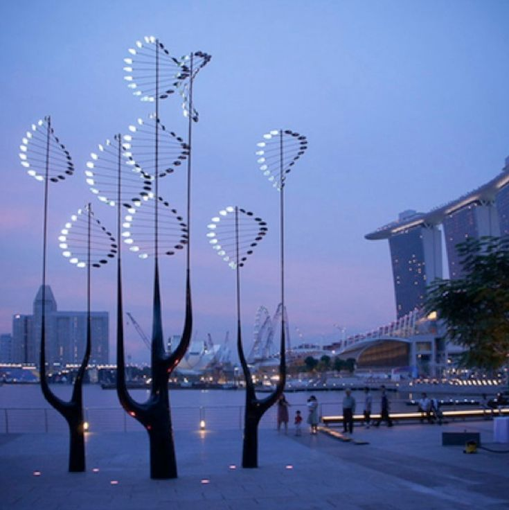 lighted kinetic abstract trees