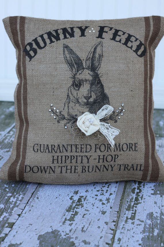 MonMell Designs Bunny Feed Sack Burlap Pillow. Bling, pearls, lace and hand-crafted rosette. #Easter