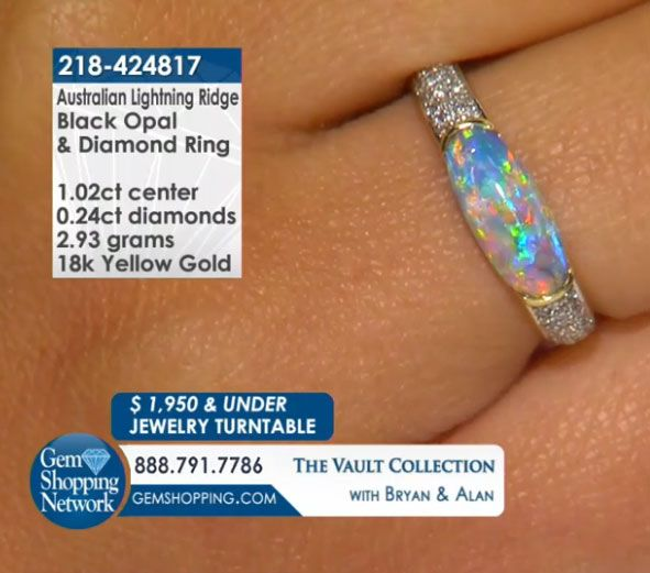 1.02 ct Australian Lightning Ridge Black Opal & 0.24 ctw White Diamond 18K Yellow Gold 2.93gr Ring Size 7 Item #218-424817  Tune into Gem Shopping Network to see stunning gemstones and jewelry 24/7. Magnificent emerald rings, blue tanzanite earrings, platinum diamond bracelets, or estate sapphire necklace are just a click away! Visit our website to day and discover your jewelry destination.