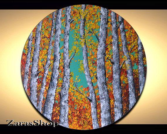 Round canvas art original birch trees painting by ZarasShop