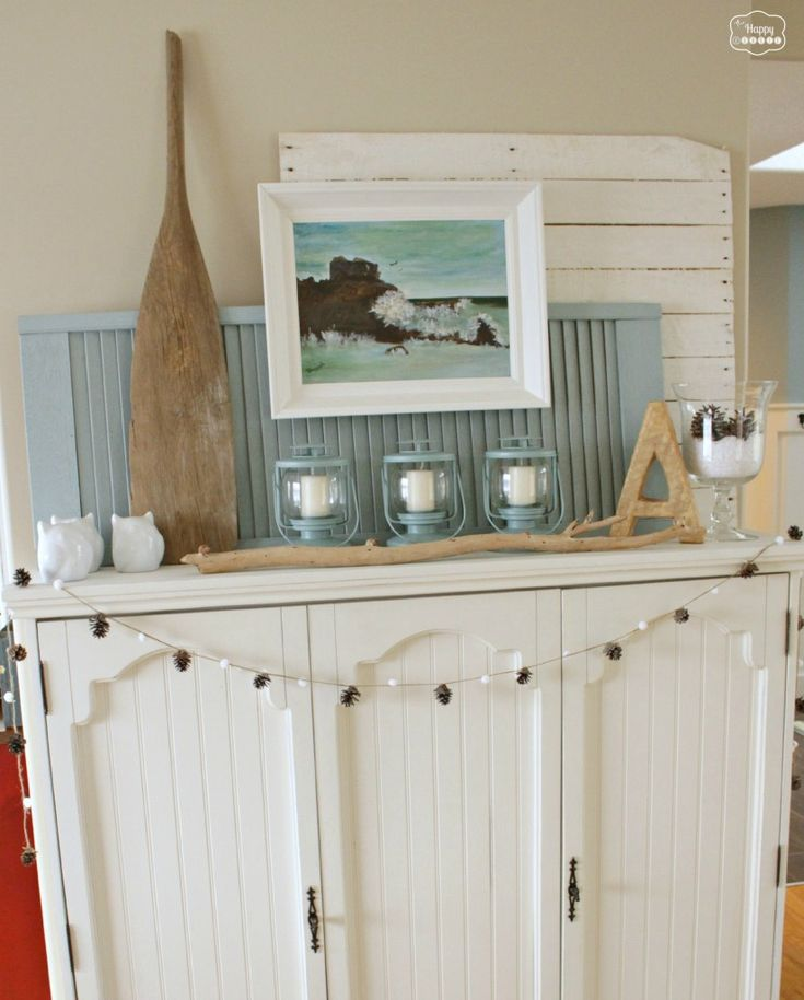 January Winter Blues Mantel at the happy housie