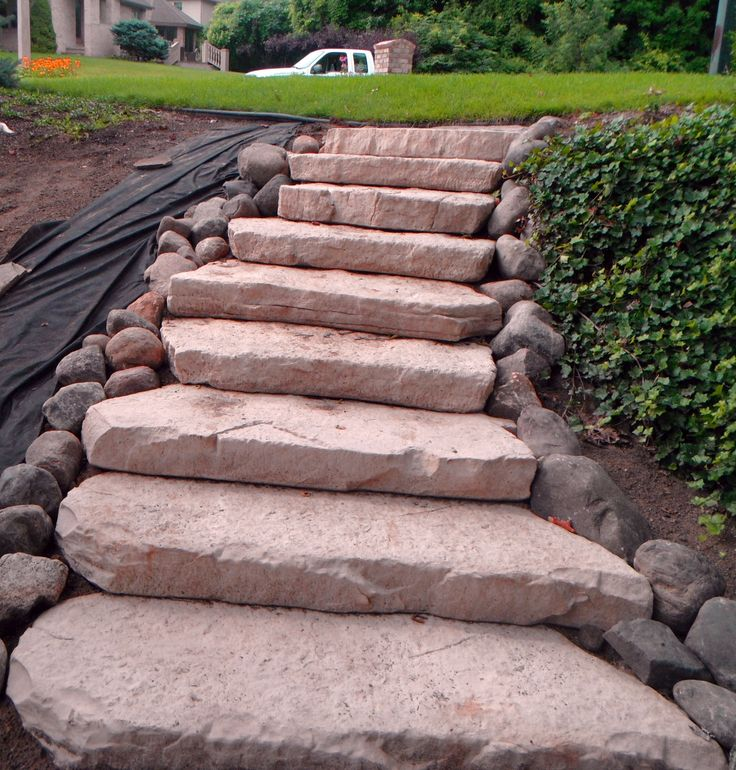 Concrete Front Yard Landscaping: Rosetta Steps Installed For A Transition From The Front To