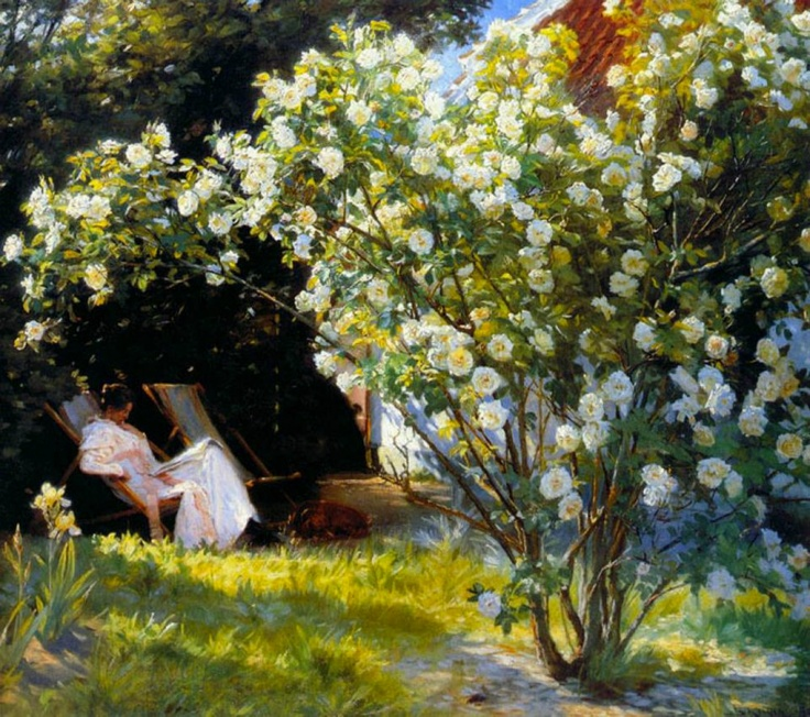 Roses or The Artists Wife in the Garden at Skagen, Peder Severin Kroyer