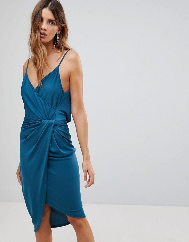 Wal G Wrap Front Midi Dress - Blue