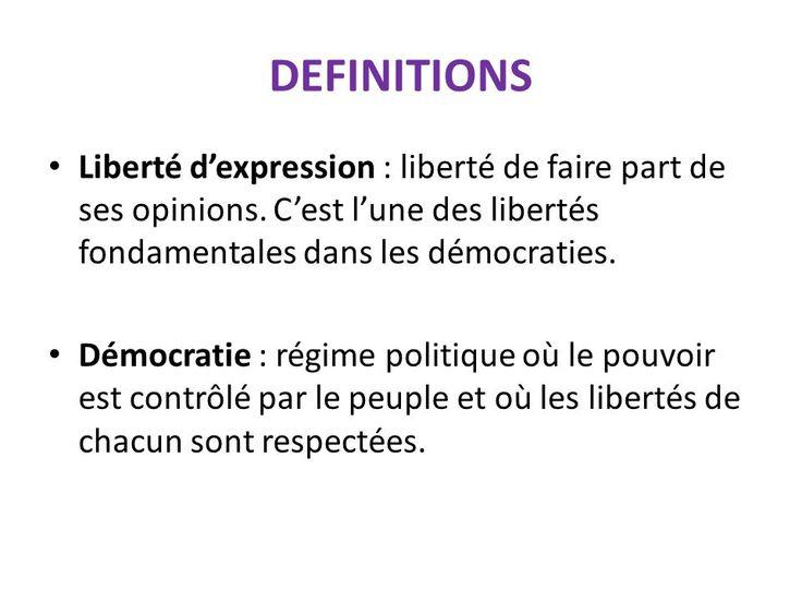 Définitions : Liberté d'expression et Démocratie