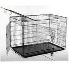 "New BestPet 42"" 3 Doors Folding Dog Crate Cage Kennel Metal Pan NO DIVIDER"