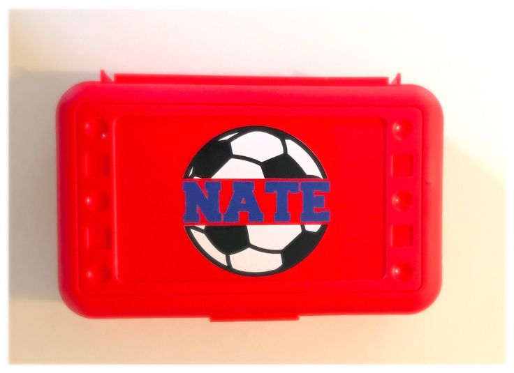 Personalized Pencil Boxes - Soccer by MamaBforMe on Etsy https://www.etsy.com/listing/538326599/personalized-pencil-boxes-soccer