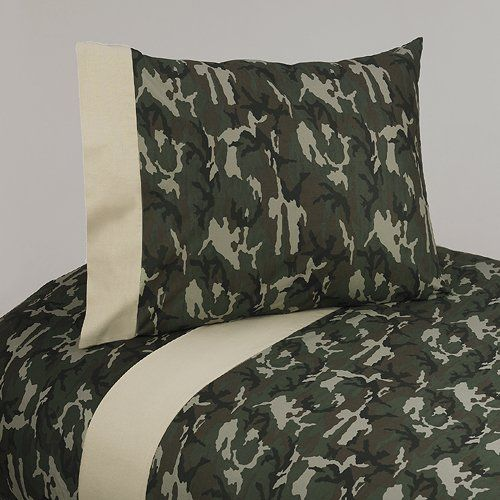4pc Queen Sheet Set For Green Camo Bedding Collection By
