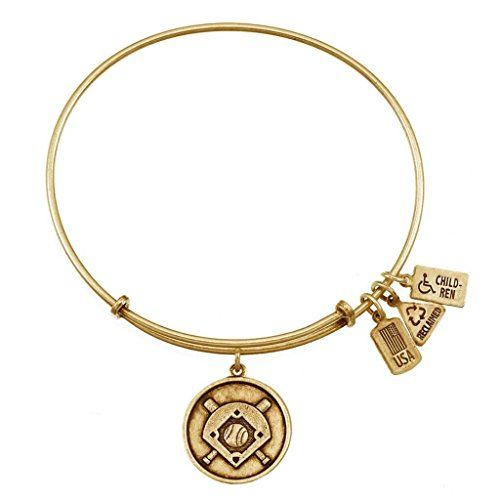 Wind and Fire Women's Baseball Diamond Charm Bangle Gold Plated *** Check out this great product.