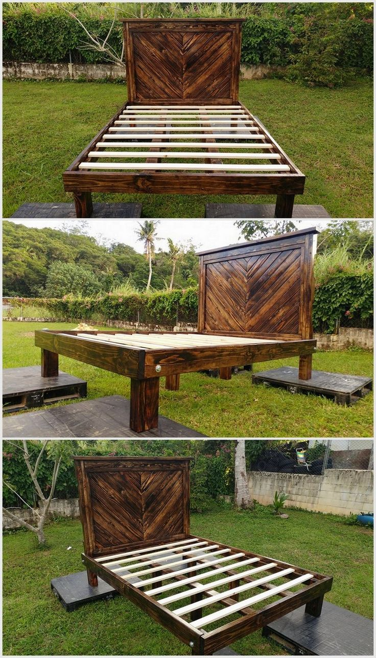 You can now make bed for your outdoor space. It is a bed which is long in the length but small in width. It is a perfect bed for one person only. We have made the headboard in big shape and size. We have placed this pallet wood bed on small pieces of wood.