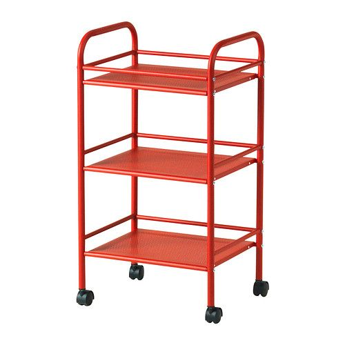 Cart - could use as nightstand - Ikea $25; Can add fabric boxes on shelves for contained storage