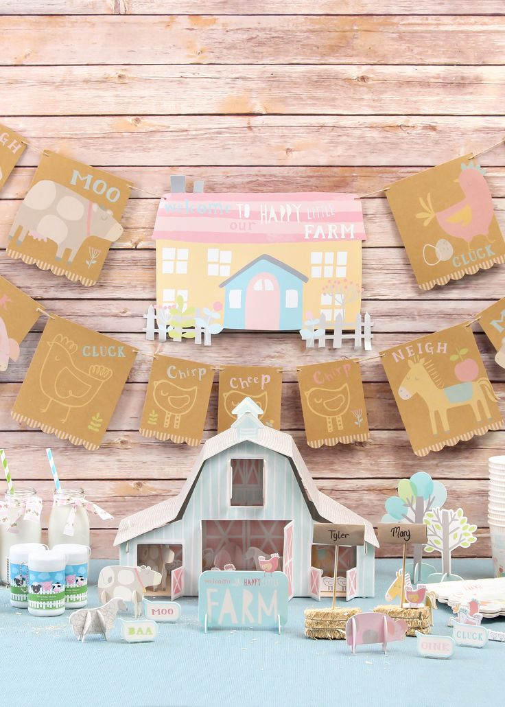 Welcome your baby with a cute farm themed baby shower! Shop the collection of farm animal favors, decorations and supplies.
