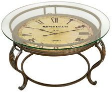 Vintage Coffee Table Glass Top Antique Style Clock Unique Living Room Furniture