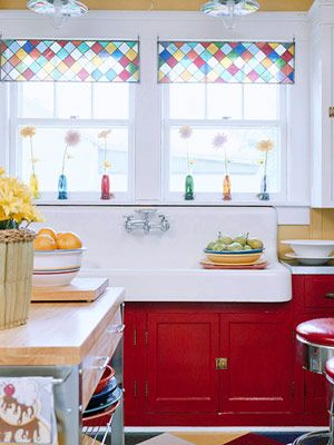 jazz up a classic white kitchen with contemporary stained glass upper cabinets, not necessarily multicoloured!