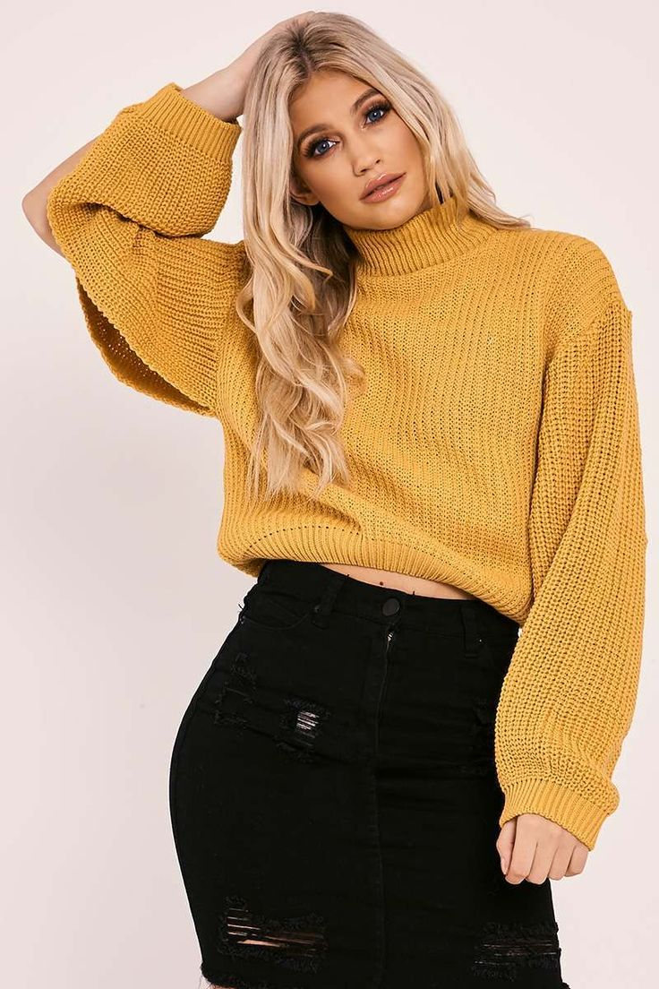 NYRISSA MUSTARD HIGH NECK SPLIT SLEEVE KNITTED JUMPER | In The Style
