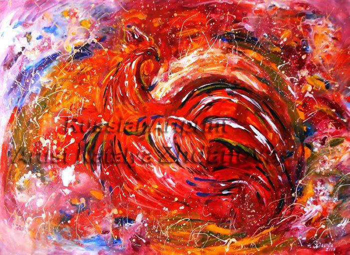 Птица Феникс - постер живопись в абстрактном стиле Купить в галерее художника: http://artnataly.ru