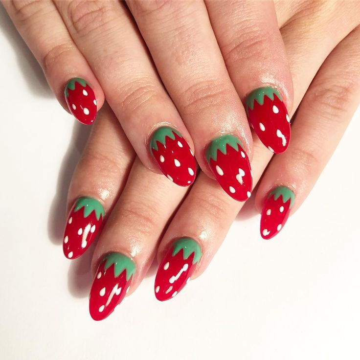 Gorgeous strawberry nail art, every girl will love this!