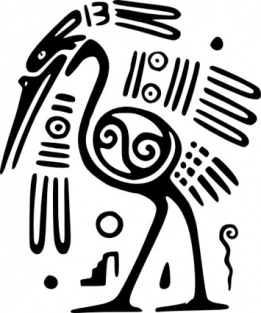 """Ancient Mexico Motif Bird clip art"""