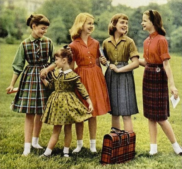 A selection of back-to-school dresses from 1960. I would wear every single one of them.