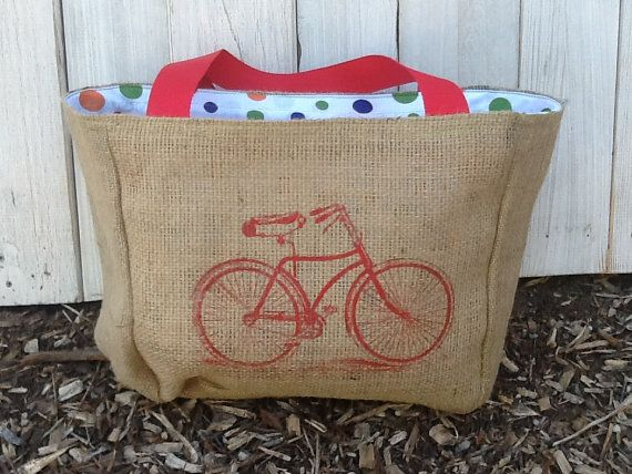 Eco-Friendly Vintage Bicycle Design Market Tote Bag, Handmade from a Recycled Coffee Sack