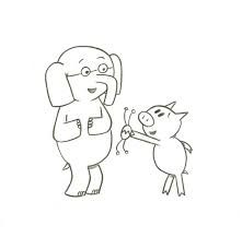 Coloring sheet elephant and piggie i am invited to a party for Piggie and gerald coloring pages