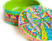 Boho chic Butterfly jewelry box Wooden ring box Gift for her Jewellery storage Bohemian Decor Handpainted box