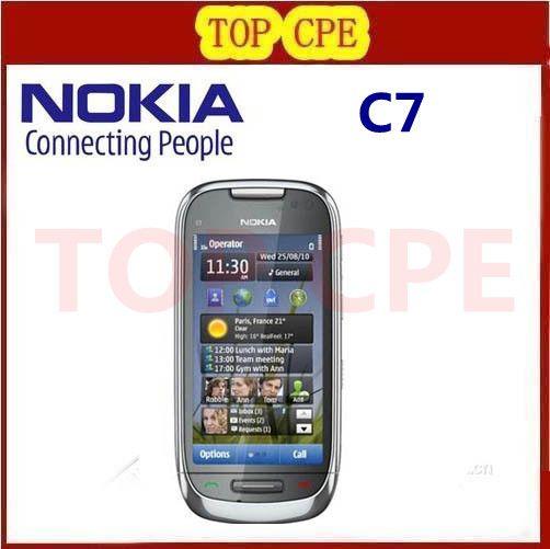 C7 восстановленное Оригинал Nokia C7 3 Г, WIFI, GPS 8MP Bluetooth Ява Разблокировать Мобильный Телефон Бесплатная Доставка