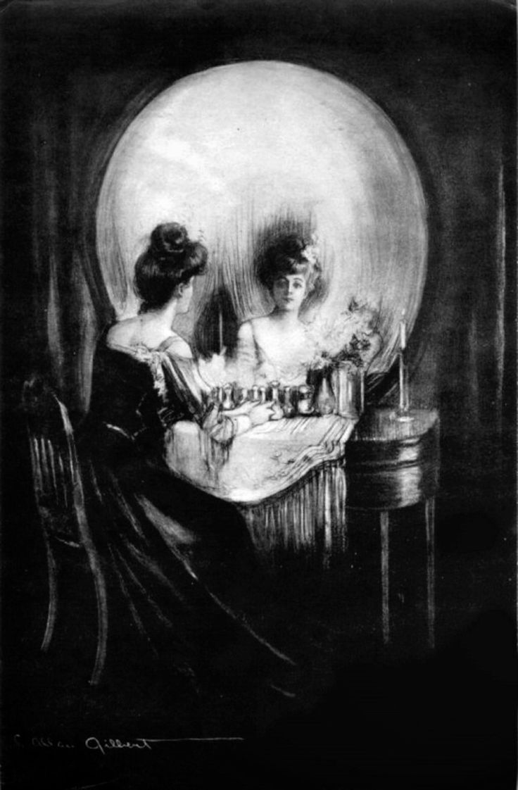 """All Is Vanity Charles Allan Gilbert 1892  Gilbert drew this optical illusion picture in 1892, when he was 18 years old. After he sold it to Life Magazine and they reproduced it as a print, it became famous.  This is an illusion, where when we view the overall image, we see a human skull. When we focus on the details of the picture, we see a woman looking in her vanity mirror. The phrase """"All is vanity"""" comes from the book of Ecclesiastes, referring to the pride of mankind, and is a memento…"""