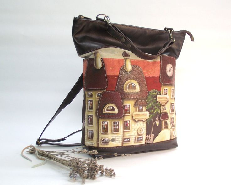 leather backpack  Leather bag with applique  soft leather  leather applique  hand-painted  painted backpack  backpack houses  brown backpack - pinned by pin4etsy.com #CityRomance #leather_backpack #LeatherBag #painted_backpack #hand_painted