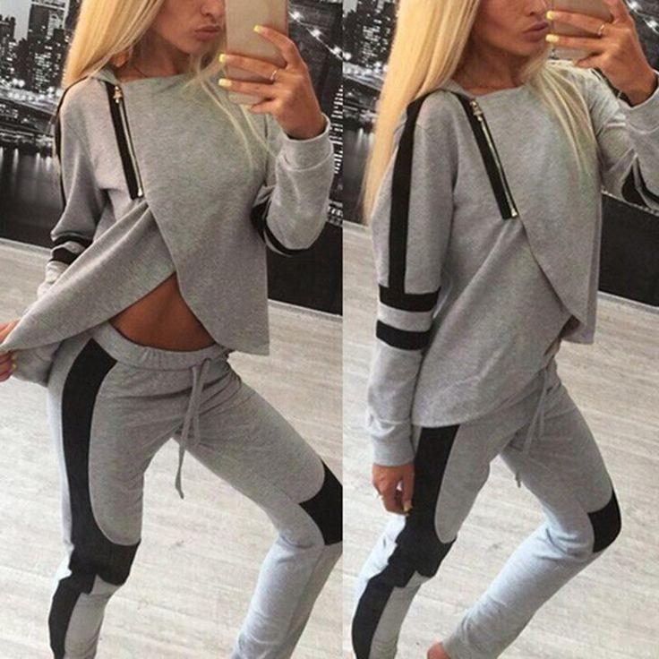 2 Piece Set Women Tracksuits Sportsuit 2016 Autumn Ladies Zipper Split Hooded Sweatshirts Casual Female Sportswear