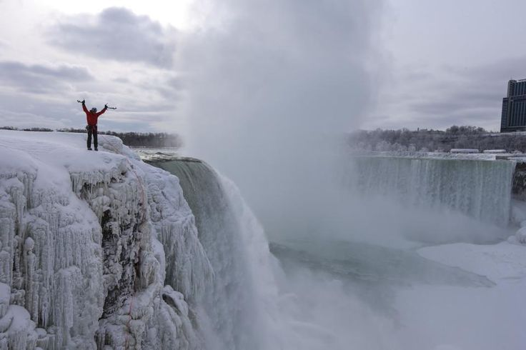 Canadian ice climbers become first to scale frozen Niagara Falls