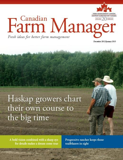 """The Haskap Berry in """"Canadian Farm Manager"""" Magazine    Haskap Central is constantly working to promote the Haskap and to create an industry here in Canada. We were approached by the Canadian Farm Manager Magazine (part of Farm Management Canada) to give our views on the potential for Haskap and our experiences over the last couple of years. In fact, they dedicate 90% of the magazine to the Haskap!!!     You can download the magazine for free from here: http://www.fmc-gac.com/news/cfm"""