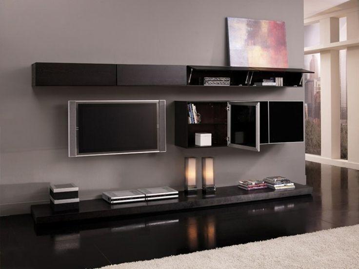 plasma television pared mobiliario almacenamiento