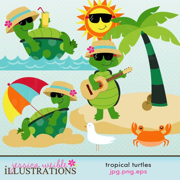 Tropical Turtles comes with 8 graphics including: 3 turtles in sunglasses & hats, a tropical island, a crab, a seagull, a smiley sun and choppy water.    Graphics are made in High Quality 300 dpi and come in JPG, PNG & EPS format.