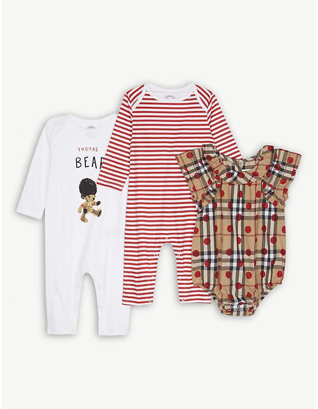 8da5fdc49129b Burberry Thomas Bear three-piece cotton baby set 1-6 months