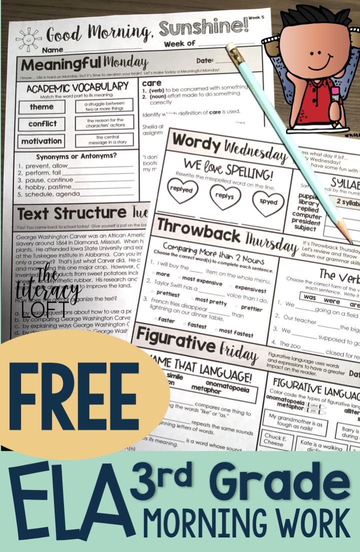 Free ELA Morning Work Grades 3-5. Grab your FREE WEEK to perk up ...