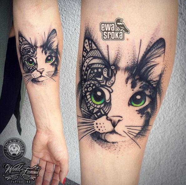 Creative cat tattoo by Ewa Sroka
