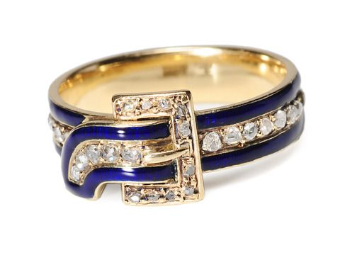 Amazing Victorian Enamel & Diamond Ring - Circa 1870 - The strap and buckle motif has been incorporated over several centuries of jewelry design. The Most Noble Order of the Garter is the highest order of chivalry or knighthood which exists in England; founded in 1348 the order uses the buckle and strap motif as a symbol of binding together in common brotherhood. The crest of its popularity was during the Victorian era when it was given as an acclamation of admiration and friendship.