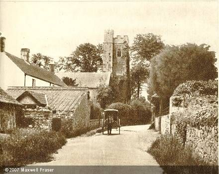 Parsonage Farm, Quantock Hills, Somerset. A picture from about 1930 shows the church, Parsonage Farm and a cluster of other buildings. Today the view is much the same