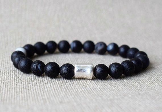 Men Bracelet Beaded Bracelets Energy Black Crazy Agate Stone Bead